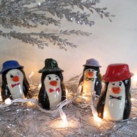 Miniature Pottery Penguins, Holiday figurine,Holiday Decor, Assorted Collectible Colors