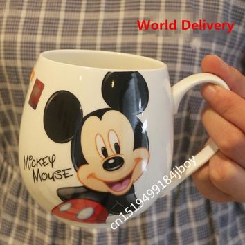 2017 Hot Sale Cartoon Mug Mickey Minnie Ceramic Cups Milk 420ml Creative Fashion Couples Mug Coffee Water Cup Cute Breakfast Cup