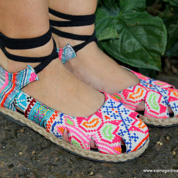 Womens Espadrille With Ankle Wrap Flat Shoe, Hmong Embroidery & Batik,