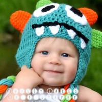 Boys Blue Monster Hat with thick braids sized for Babys