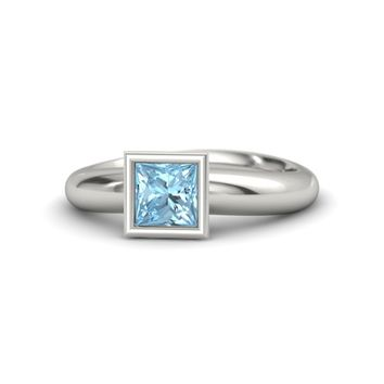 Princess Aquamarine 14K White Gold Ring