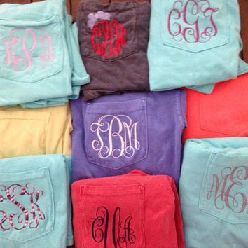 Monogram Short Sleeve Pocket Tee, Comfort Colors Vintage Wash T-Shirt Monogrammed