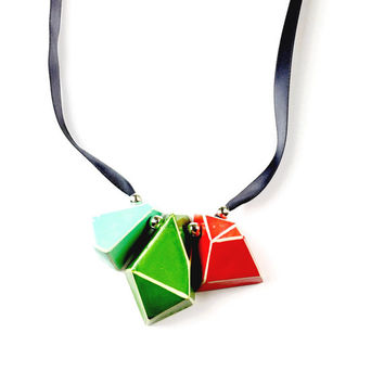 Clay, Silver and Ribbon Necklace - Geometric Necklace, Geometric Jewellery, Clay Jewelry, Bright, Statement Necklace, Tie Necklace