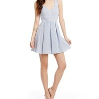 B. Darlin Bow Back Striped Seersucker Skater Dress | Dillards