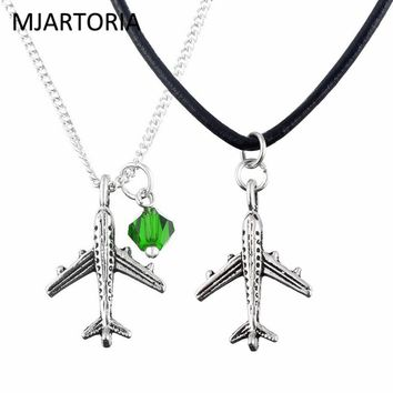 MJARTORIA 2PCs Choker Aircraft Pendant Necklace Airplane Jewelry Chain 2017 New Long Necklace For Women Best Friend Gift 47cm
