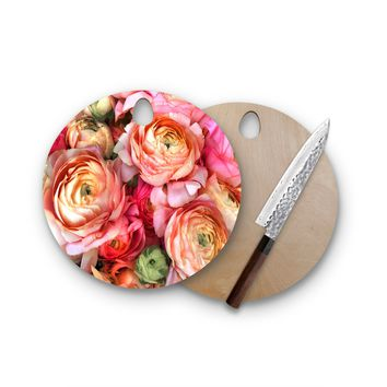 Happy Roses Round Cutting Board Trendy Unique Home Decor Cheese Board