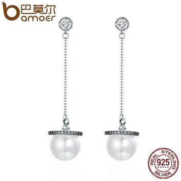 925 Sterling Silver Long Tassel Sparking CZ Simulated Pearl Drop Earrings for Women Sterling Silver Jewelry Gift SCE135