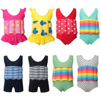 Sexy Bikini Kids Children's Swimwear Junior Girls Swimsuit Bathing Suits 2018 Removable Floating Children Training Drying Cuhk