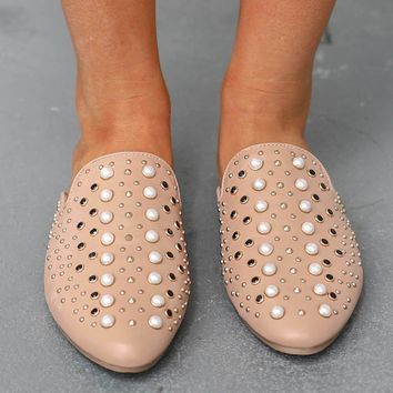 Walking In Cali Nude Studded Open Back Loafer