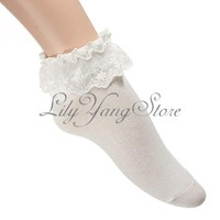 Fashion Cotton Lace Cuffs Ruffle Frilly Ankle Opaque Socks Anklet Pink White