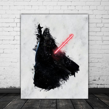 Darth Vader Print, Star Wars Watercolor Splash, Darth Vader Painting Print, Star Wars Print, Sith Anakin Skywalker, Darth Vader Poster
