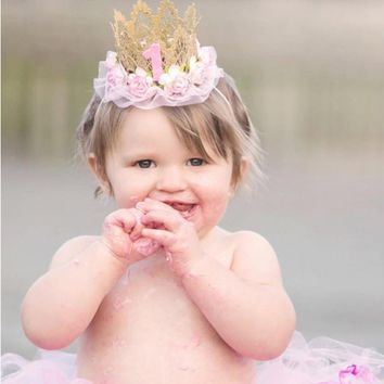 Cool baby girl first birthday party cap Hat decoration Headband hairband Princess Queen Crown lace Hair Band Elastic Headwear P0.2AT_93_12
