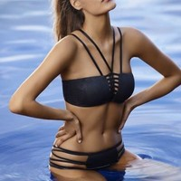 Bikini Strappy Bandage High Quality Criss Cross Push Up Bathing Suit V Neck Swimsuits