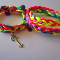 Neon Double Wrap Braided Bracelet  Charm by Thelittlebunnyshop