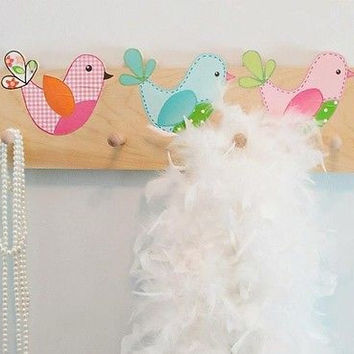 Sweet Tweat Little Birdie Wooden CLOTHES PEG Rack Bathroom Bedroom CR0013
