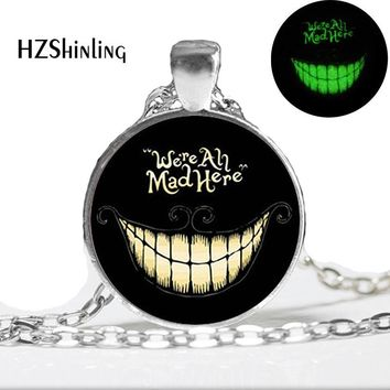 Glow in the Dark Necklace We're all Mad Here Necklace  Glass Pendant Alice in Wonderland necklace Glowing jewelr