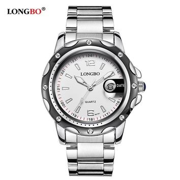 Men Leather Stainless Steel Watch Sports Quartz Watches Leisure Clock Simple Watch