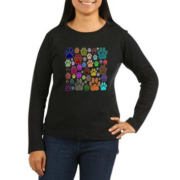 Dog Paw Prints All Over Women's Long Sleeve Dark T-Shirt