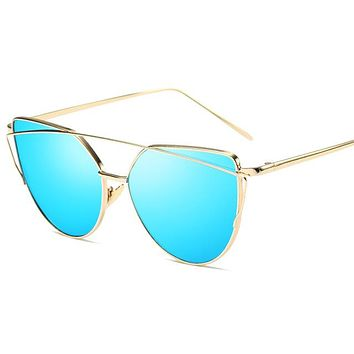 2018 Cat Eye vintage Brand designer rose gold mirror Sunglasses For Women Metal Reflective