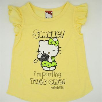 2016 kids girl clothes t-shirt whosale baby choses cotton kitty girl tops china cheap names top 100 children t shirts xst005 1ps