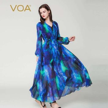 Puff Long Sleeve Blue Sky V-Neck Double Layer Silk Dress Casual Lace-Up Plus Size Women Maxi Robes Dress A6201