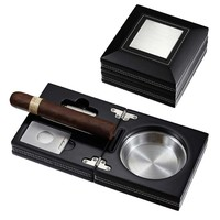 Visol Opal Wooden Folding Cigar Ashtray With Cutter & Punch
