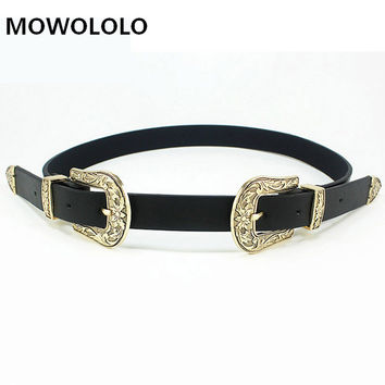 Fashion PU leather women belt Double buckle high quality brand waist belt 2016 Vintage black luxury belts cummerbunds