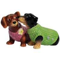 Westland Giftware Magnetic Ceramic Salt and Pepper Shaker Set, Dachshund Sweaters, Multicolor