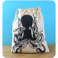 Octopus Produce Bags - Vegan/Vegetarian - farmers market bag draw string bags Indie Housewares green gifts nautical underwater animals