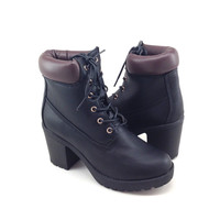 Black Vegan Leather Work Style Boot with Heel