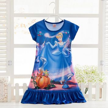 Girls Christmas dress Cosplay Costume snow queen anna Dress Kids party dresses fantasia,Rapunzel snow white girl Pajamas Dress