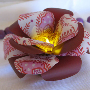 Best candles for wedding tables products on wanelo set of 6 led paper flowersled light maroon rosespaper wedding mightylinksfo