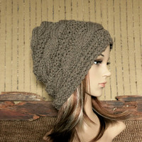 Knit Hat, Women's Hat, Men Slouchy Beanie, Chunky Cable Hat, Winter Fall Accessories Mid Brown Hat
