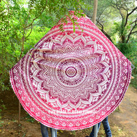 Multi Floral Ombre Circle Roundie Beach Towel Throw on RoyalFurnish.com