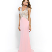 Blush Prom 10000 Pink Blush & Silver Beaded Halter V-Neck Cut Out Back Gown 2015 Prom Dresses