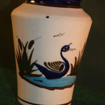 Vase Art Pottery Made in Mexico Glaze Swan Design