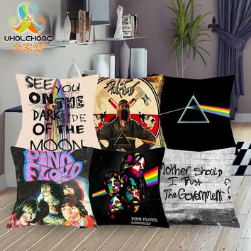 1 Pcs 43*43cm Pink Floyd Commemorate Cushions Linen Cushion Cover Creative Psychedelic Style Pillow For Living Room Bed Room