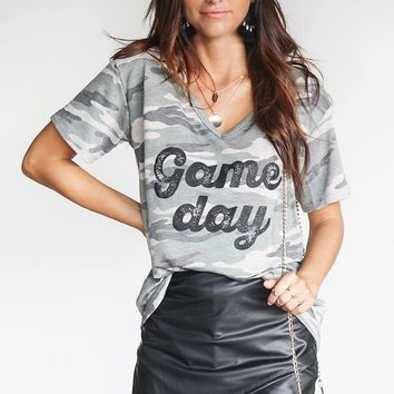Vintage Green Camo Game Day V-Neck Shirt