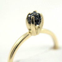 14K Yellow Gold Ring - Raw Rough Diamond Ring - SOLID Gold - Jet Black Diamond - Engagement Ring