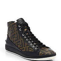 Fendi - Zucca Print High-Top Sneakers - Saks Fifth Avenue Mobile