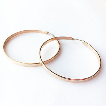 Rose Gold Hoop earrings • Large Hoop earrings • Rose Gold Hoops • Boho Hoop earrings • Minimalist earrings • Everyday earrings • Hoops