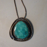 Vintage Native American Turquoise Pendant Necklace Signed JD on Liquid Silver Chain
