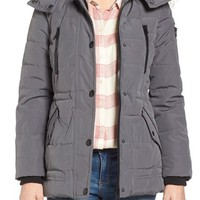 GUESS 'Expedition' Short Quilted Parka with Faux Fur Trim   Nordstrom