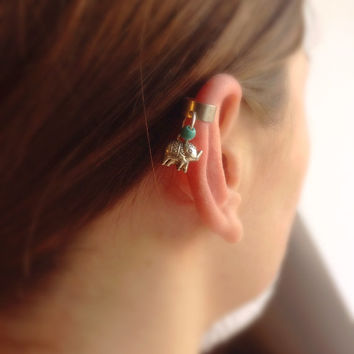 Elephant Ear Cuff, No Piercing Earring, Silver Elephant Ear Cuff, Turquoise Stone Elephant Earring, Ear Cuff, Gift Idea