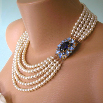 Wedding Jewelry Statement Necklace Montana Blue Sapphire Necklace Wedding Bridal Jewelry Navy Blue Necklace Pearl Choker Light Sapphire