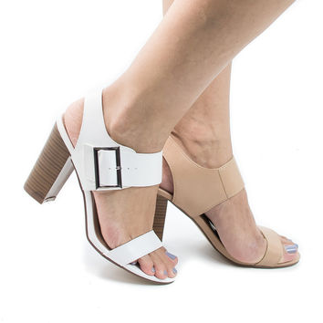 Patia26 Open Toe Chunky Ankle Buckle Cuff Stack Heel Sandals
