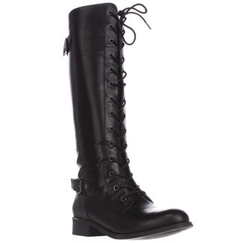 Wanted Cocktail Knee High Combat Boots - Black