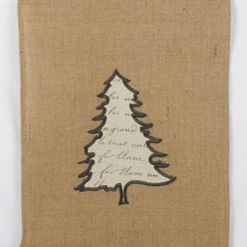 Burlap With Applique Christmas Tree And  Musical Note Ruffle Table Runner, Natural,Black,Cream