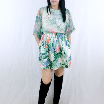 Vintage 70s Victor Costa Ltd. Chiffon Flower Print Angel Batwing Sleeve Sateen Mini Babydoll Dress S // M