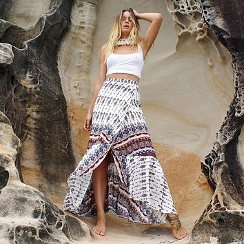 Coffee Boho Printed One-Size Ankle-length Split Skirt